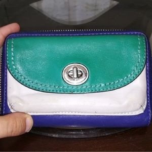 Coach blue and teal wallet/wristlet